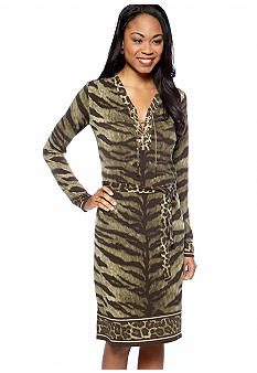 MICHAEL Michael Kors Tiger Print Lace Up Border Dress