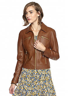MICHAEL Michael Kors Washed Leather Jacket