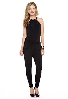 MICHAEL Michael Kors Halter Jumpsuit with Gold Hardware