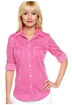 MICHAEL Michael Kors Gingham Button Down Shirt with Roll Tab Sleeves