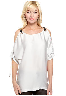 MICHAEL Michael Kors Cold Shoulder Buckle Top