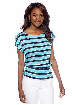 MICHAEL Michael Kors Stripe Boat Neck Top