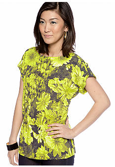 MICHAEL Michael Kors Floral Print Boat Neck Top with Elastic Waist