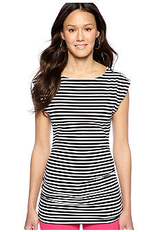 MICHAEL Michael Kors Sleeveless Stripe Top with Zipper Embellishment