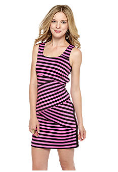 MICHAEL Michael Kors Stripe Bandage Dress with Exposed Side Zipper