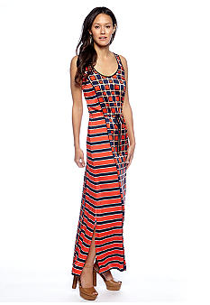 MICHAEL Michael Kors Soho Square Maxi Dress with Drawstring Waistband