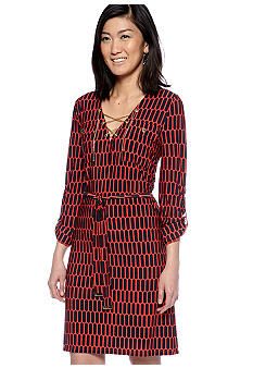MICHAEL Michael Kors Printed Chain Lace Up Dress with Self Tie Belt