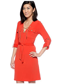Lucky Brand Chain Lace Up Dress with Self Tie Belt
