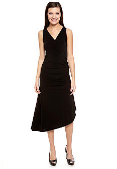 MICHAEL Michael Kors Sleeveless Wrap Dress with Chain Zipper Embellishment