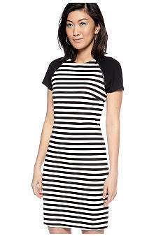 MICHAEL Michael Kors Stripe Ponte Dress with Zipper Embellishment
