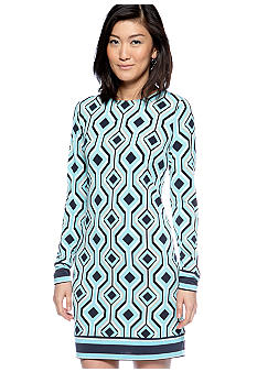 MICHAEL Michael Kors Long Sleeve Printed Border Dress