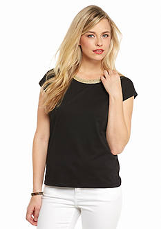 MICHAEL Michael Kors Metallic Trim Boxy Top