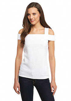 MICHAEL Michael Kors Grid Texture Banded Top