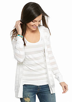 MICHAEL Michael Kors Sheer Stripe Open Cardigan