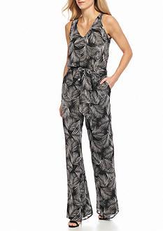 MICHAEL Michael Kors Leaf Print Woven Jumpsuit