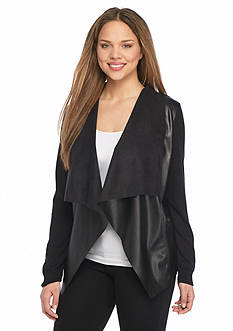 MICHAEL Michael Kors Plus Size Leather Trim Drape Front Sweater