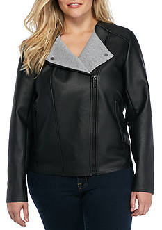 MICHAEL Michael Kors Bonded Faux Leather Jacket