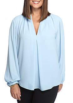MICHAEL Michael Kors Plus Size V-Neck Pleat Top