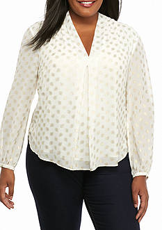 MICHAEL Michael Kors Plus Size Bergalia V Neck Top