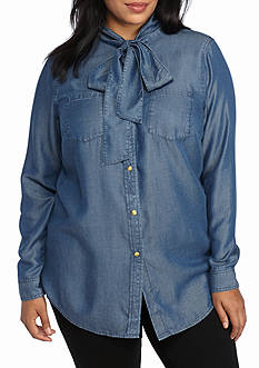 MICHAEL Michael Kors Plus Size Denim Neck Tie Top