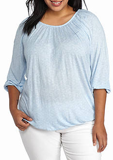 MICHAEL Michael Kors Plus Size Greer Tweed Peasant Top