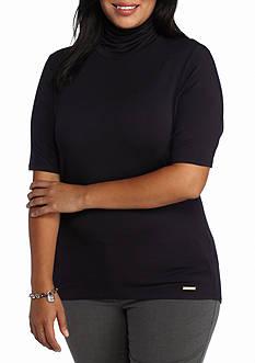 MICHAEL Michael Kors Plus Size Short Sleeve Funnel Neck Top