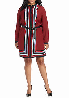 MICHAEL Michael Kors Plus Size Optic Long Sleeve Dress
