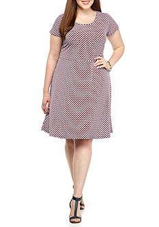 MICHAEL Michael Kors Plus Size Esher Cap Sleeve Dress With Scoop Neckline