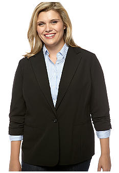 Michael Kors Plus Size Shirred Sleeve Blazer