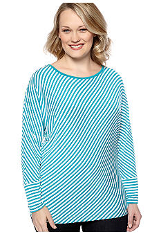 MICHAEL Michael Kors Plus Size Bias Stripe Dolman Sleeve Top