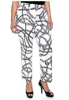 MICHAEL Michael Kors Plus Size Stretch Cotton Print Ankle Pant