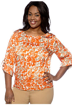 MICHAEL Michael Kors Plus Size Smocked Bottom Blouse