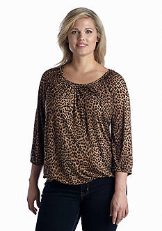 MICHAEL Michael Kors Plus Size Print Scoop Neck Top