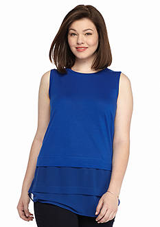 MICHAEL Michael Kors Plus Size Crew Neck Woven Mix Top