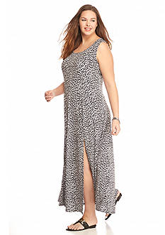 MICHAEL Michael Kors Plus Size Abstract Jag Print Maxi Tank Dress