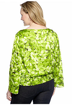 MICHAEL Michael Kors Plus Size Floral Print Top With Smocked Bottom