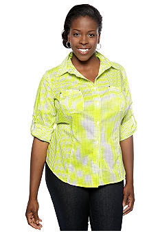 MICHAEL Michael Kors Plus Size Button Front Gingham Shirt