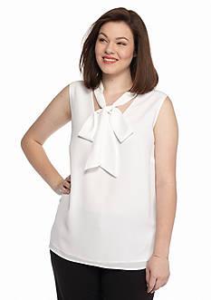 MICHAEL Michael Kors Plus Size Tie Neckline Sleevless Top