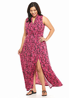 MICHAEL Michael Kors Plus Size Tropical Print Maxi Dress