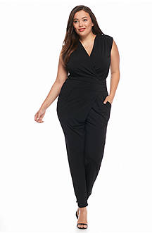 MICHAEL Michael Kors Plus Size Solid Wrap Jumpsuit