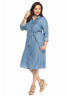 MICHAEL Michael Kors Plus Size Chambray Shirtdress
