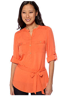 Calvin Klein Tunic Blouse with Self Tie Belt