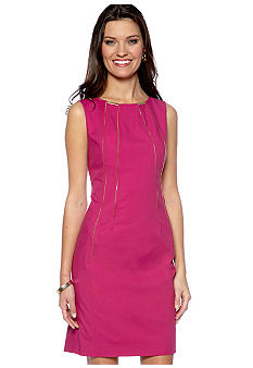 Calvin Klein Shift Dress with Zipper Embellishment