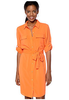 Calvin Klein Shirt Dress with Roll Tab Sleeves and Self Belt