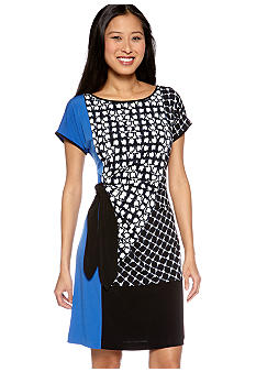 Calvin Klein Color Block Side Tie Dress