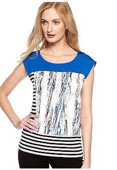 Calvin Klein Extended Shoulder Color Block Print Tee