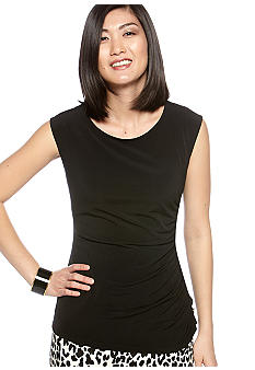 Calvin Klein Side Ruched Top with Button Detail