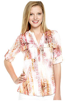 Calvin Klein Printed Roll Sleeve Button Down Blouse