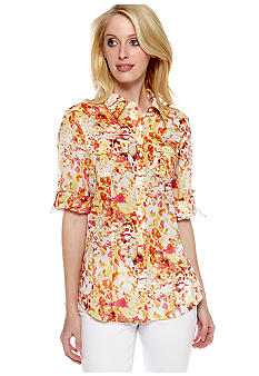 Calvin Klein Printed Roll Sleeve Button Down Shirt
