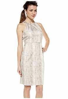 Calvin Klein Snakeskin Print Halter Sheath Dress
